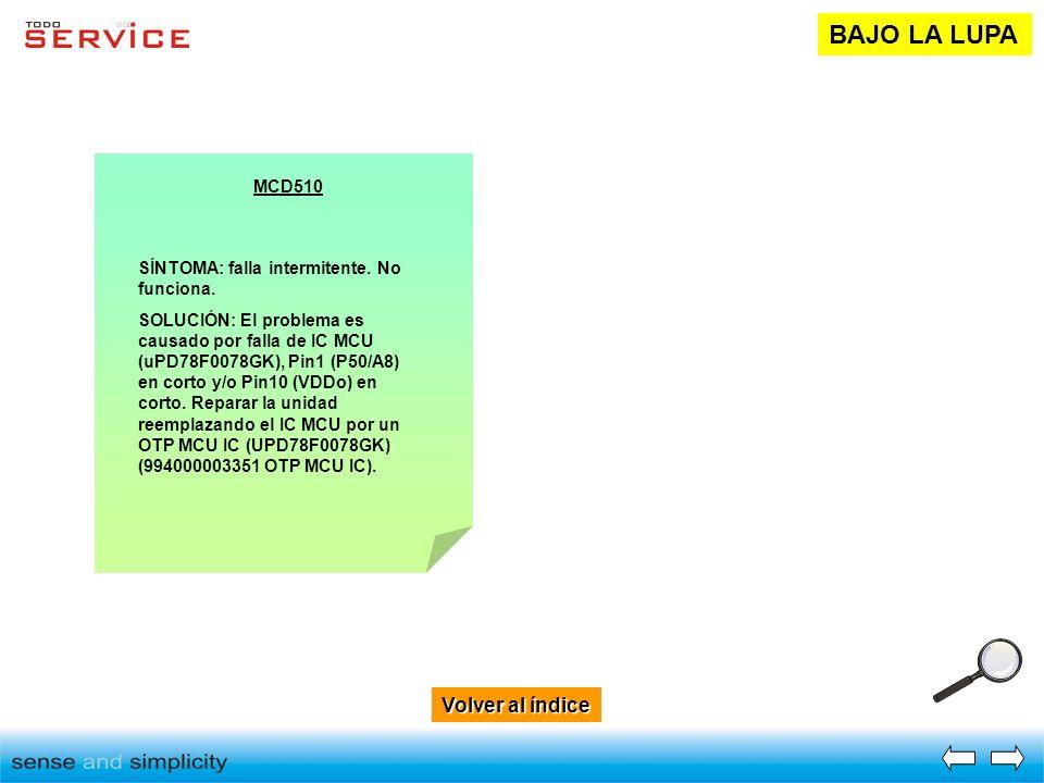 Volver al índice Volver al índice BAJO LA LUPA MCD510 SÍNTOMA: falla intermitente. No funciona. SOLUCIÓN: El problema es causado por falla de IC MCU (