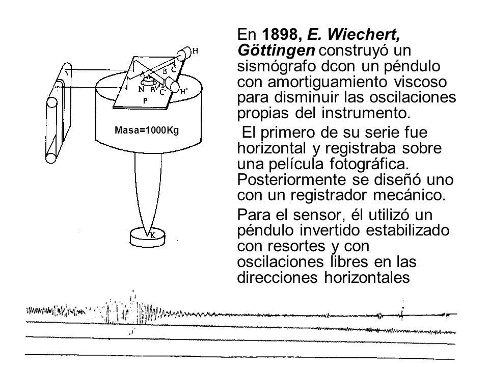 En 1898, E. Wiechert, Göttingen construyó un sismógrafo dcon un péndulo con amortiguamiento viscoso para disminuir las oscilaciones propias del instru