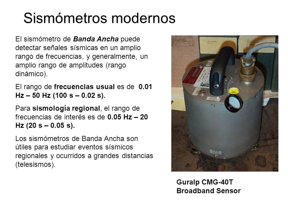 Sismómetros modernos El sismómetro de Banda Ancha puede detectar señales sísmicas en un amplio rango de frecuencias, y generalmente, un amplio rango d