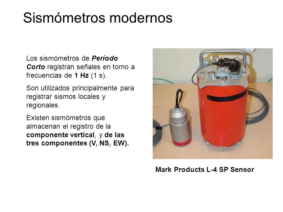 Los sismómetros de Período Corto registran señales en torno a frecuencias de 1 Hz (1 s). Son utilizados principalmente para registrar sismos locales y