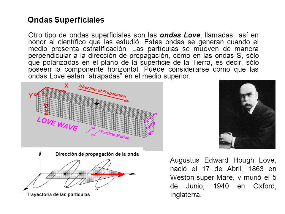 Ondas Superficiales Otro tipo de ondas superficiales son las ondas Love, llamadas así en honor al científico que las estudió. Estas ondas se generan c