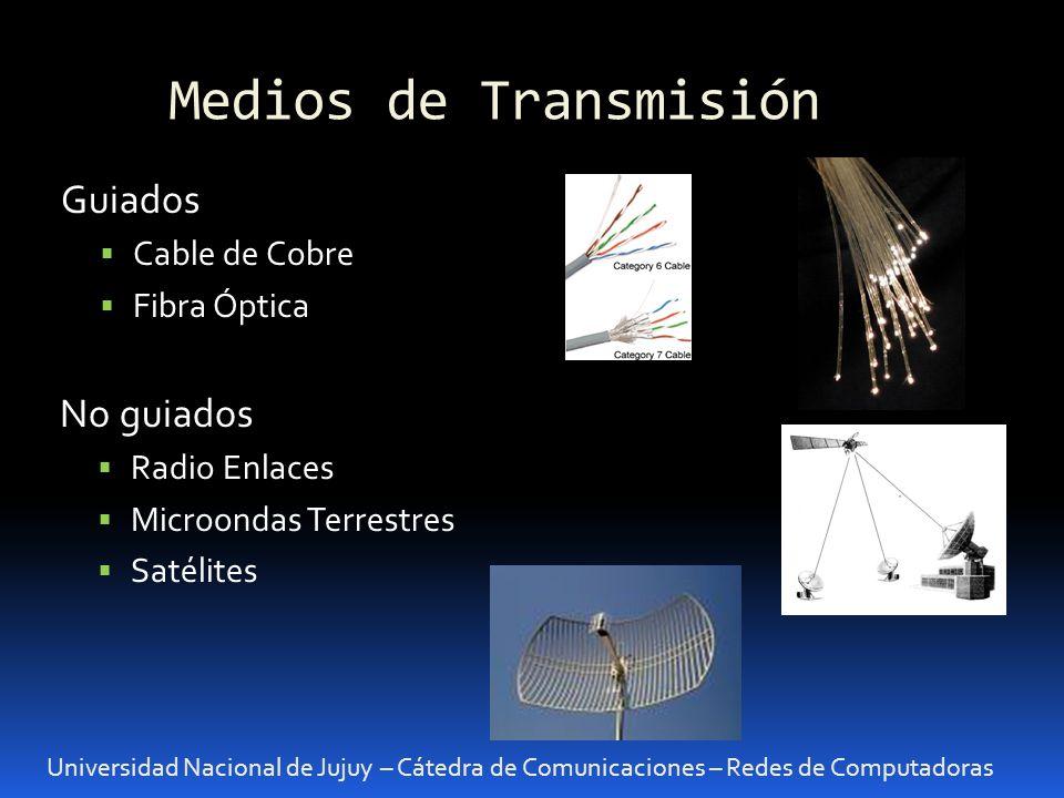 Medios de Transmisión Universidad Nacional de Jujuy – Cátedra de Comunicaciones – Redes de Computadoras Guiados Cable de Cobre Características Físicas: Impedancia característica: Valor definido para cada tipo de cable.