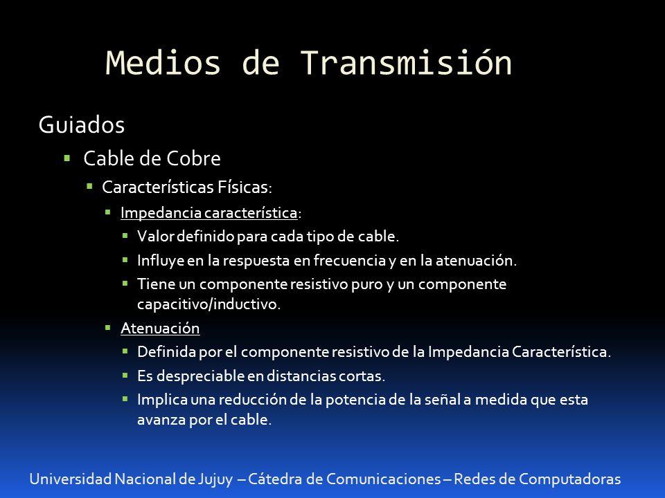 Medios de Transmisión Universidad Nacional de Jujuy – Cátedra de Comunicaciones – Redes de Computadoras Velocidad de Transmisión En cualquier medio de transmisión vale: C = AB.