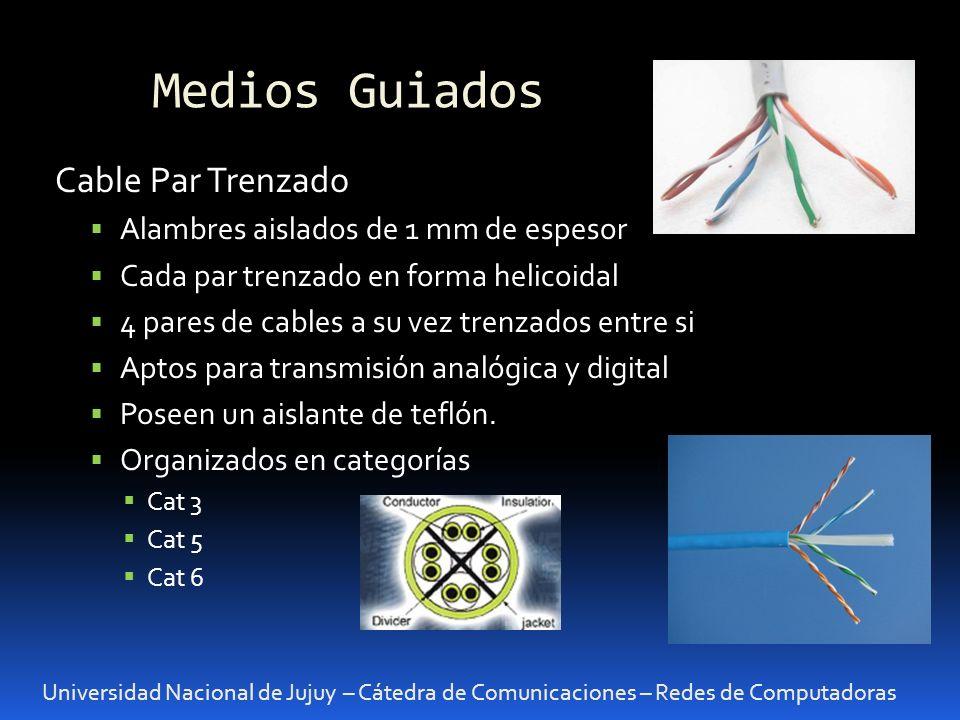 Medios Guiados: UTP Universidad Nacional de Jujuy – Cátedra de Comunicaciones – Redes de Computadoras