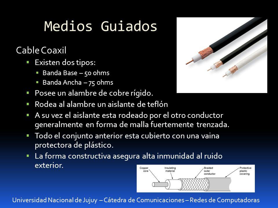 Medios Guiados: Coaxil Universidad Nacional de Jujuy – Cátedra de Comunicaciones – Redes de Computadoras