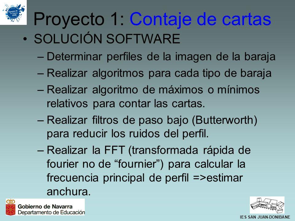 SOLUCIÓN SOFTWARE –Determinar perfiles de la imagen de la baraja –Realizar algoritmos para cada tipo de baraja –Realizar algoritmo de máximos o mínimo