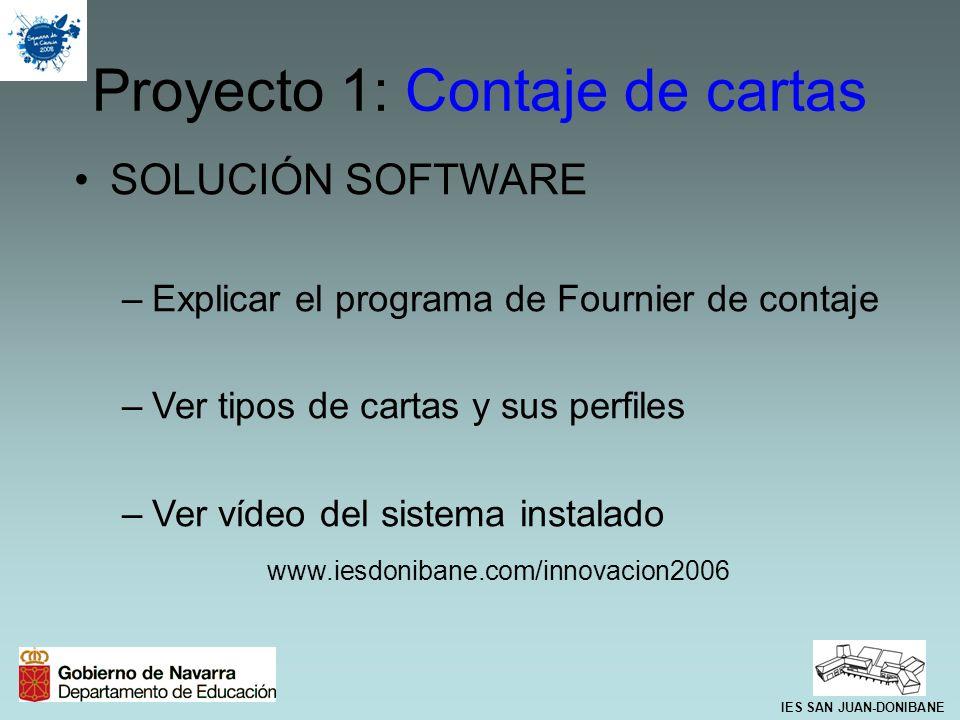 SOLUCIÓN SOFTWARE –Explicar el programa de Fournier de contaje –Ver tipos de cartas y sus perfiles –Ver vídeo del sistema instalado www.iesdonibane.co