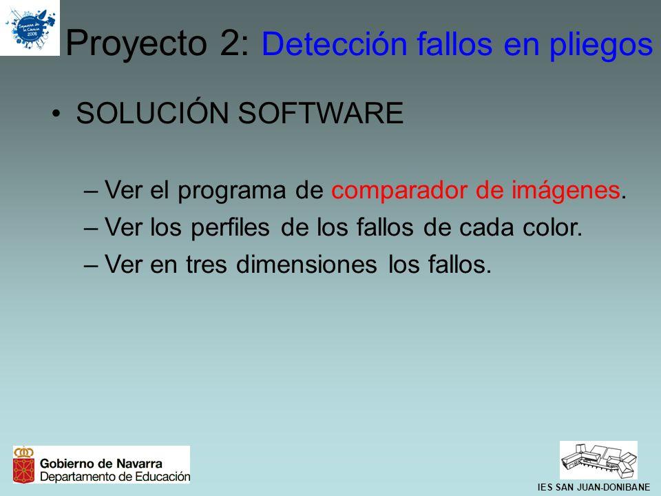 SOLUCIÓN SOFTWARE –Ver el programa de comparador de imágenes. –Ver los perfiles de los fallos de cada color. –Ver en tres dimensiones los fallos. Proy