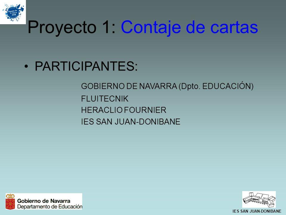 Proyecto 1: Contaje de cartas PARTICIPANTES: GOBIERNO DE NAVARRA (Dpto. EDUCACIÓN) FLUITECNIK HERACLIO FOURNIER IES SAN JUAN-DONIBANE
