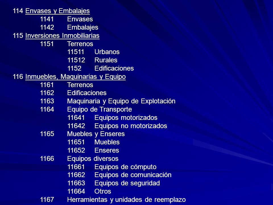 114 Envases y Embalajes 1141Envases 1142Embalajes 115 Inversiones Inmobiliarias 1151Terrenos 11511Urbanos 11512Rurales 1152Edificaciones 116 Inmuebles