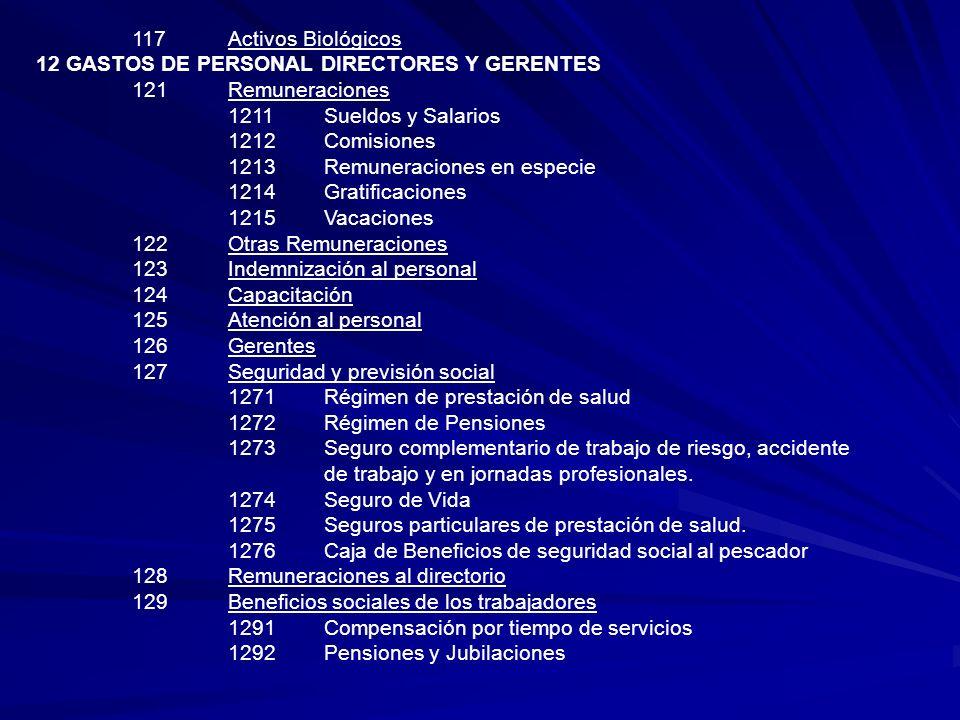117Activos Biológicos 12 GASTOS DE PERSONAL DIRECTORES Y GERENTES 121Remuneraciones 1211Sueldos y Salarios 1212Comisiones 1213Remuneraciones en especi
