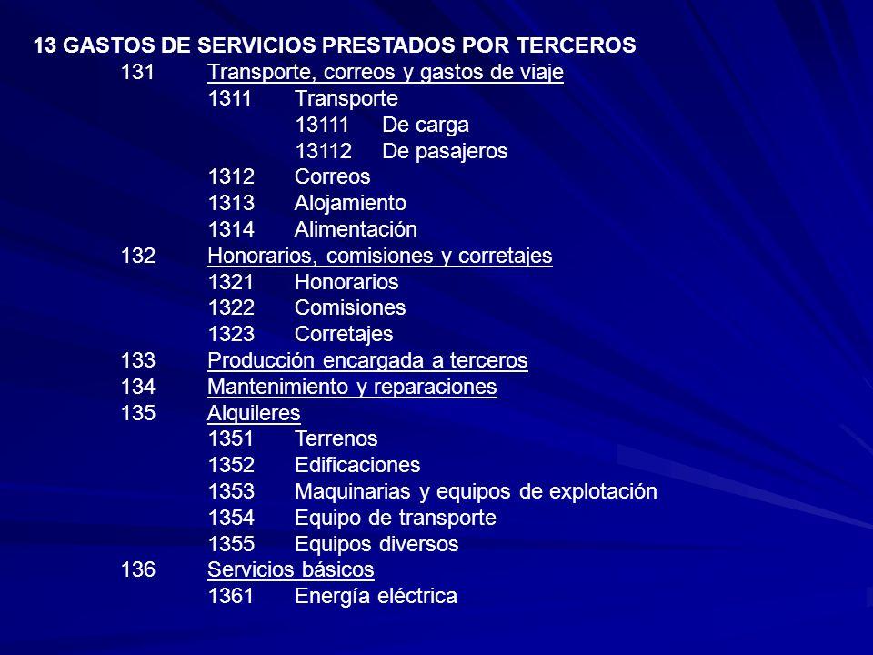 13 GASTOS DE SERVICIOS PRESTADOS POR TERCEROS 131Transporte, correos y gastos de viaje 1311Transporte 13111De carga 13112 De pasajeros 1312Correos 131