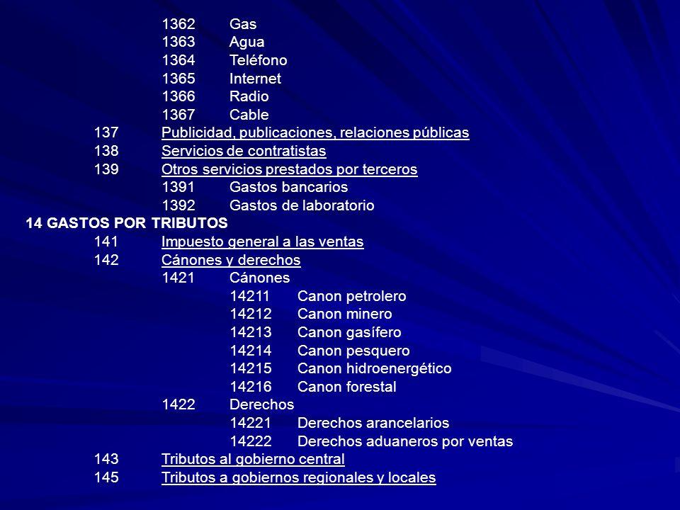 1362Gas 1363Agua 1364Teléfono 1365Internet 1366Radio 1367Cable 137Publicidad, publicaciones, relaciones públicas 138Servicios de contratistas 139Otros