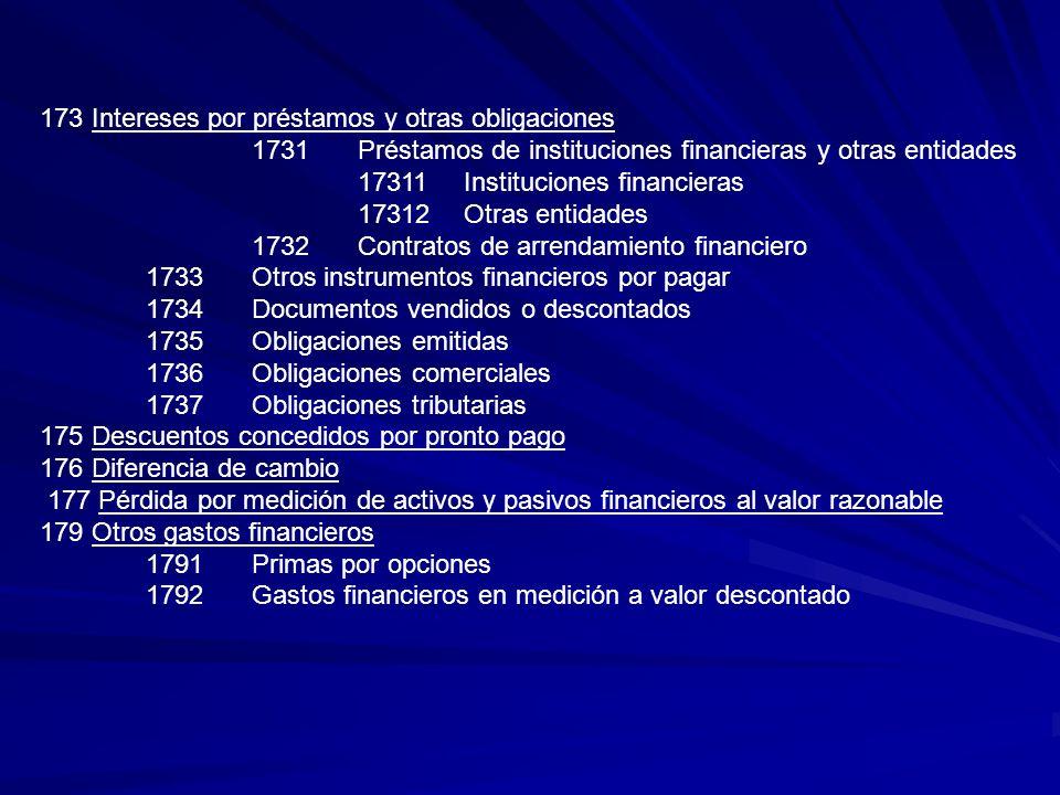 173 Intereses por préstamos y otras obligaciones 1731Préstamos de instituciones financieras y otras entidades 17311Instituciones financieras 17312Otra