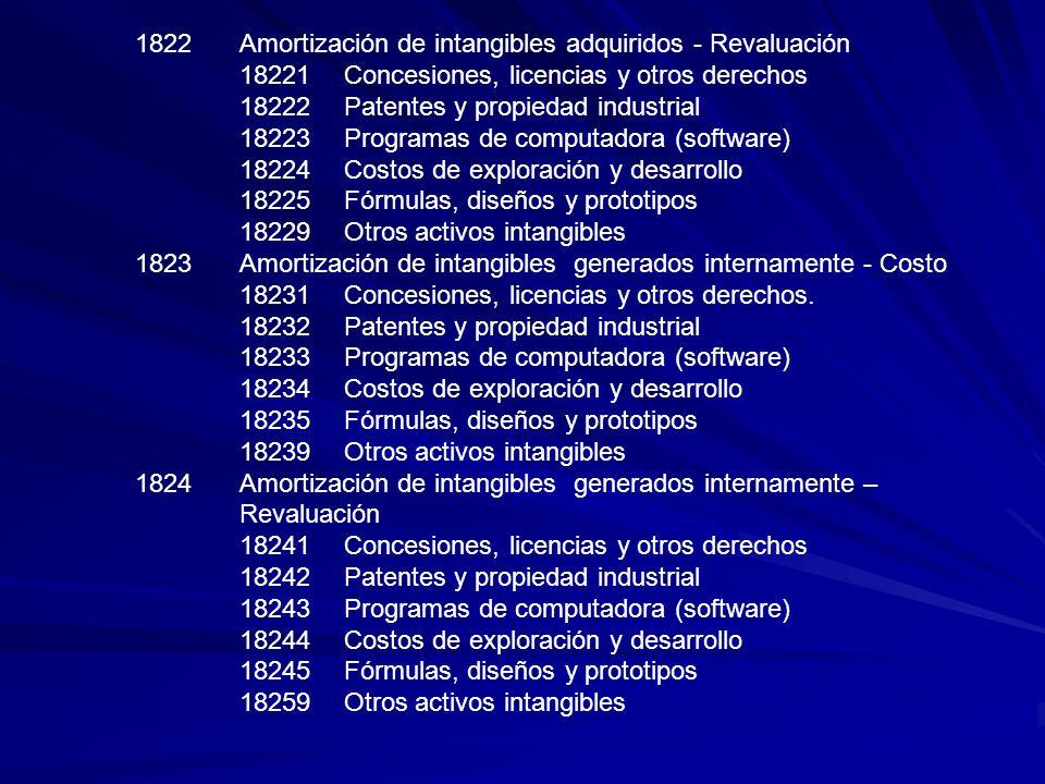 1822Amortización de intangibles adquiridos - Revaluación 18221Concesiones, licencias y otros derechos 18222Patentes y propiedad industrial 18223Progra