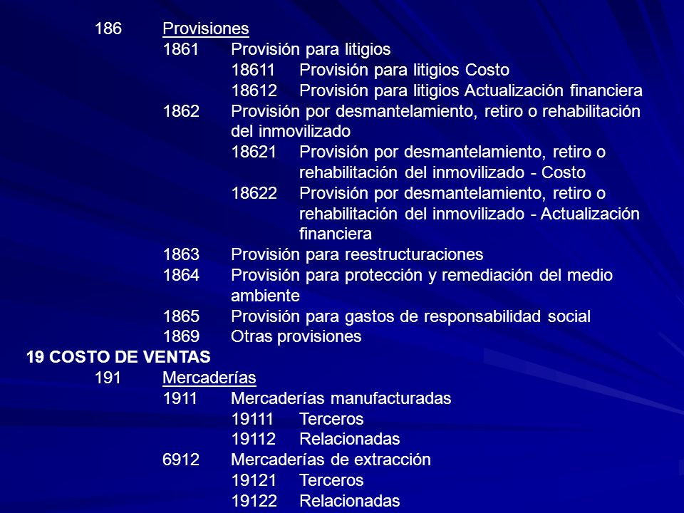 186Provisiones 1861Provisión para litigios 18611Provisión para litigios Costo 18612Provisión para litigios Actualización financiera 1862Provisión por