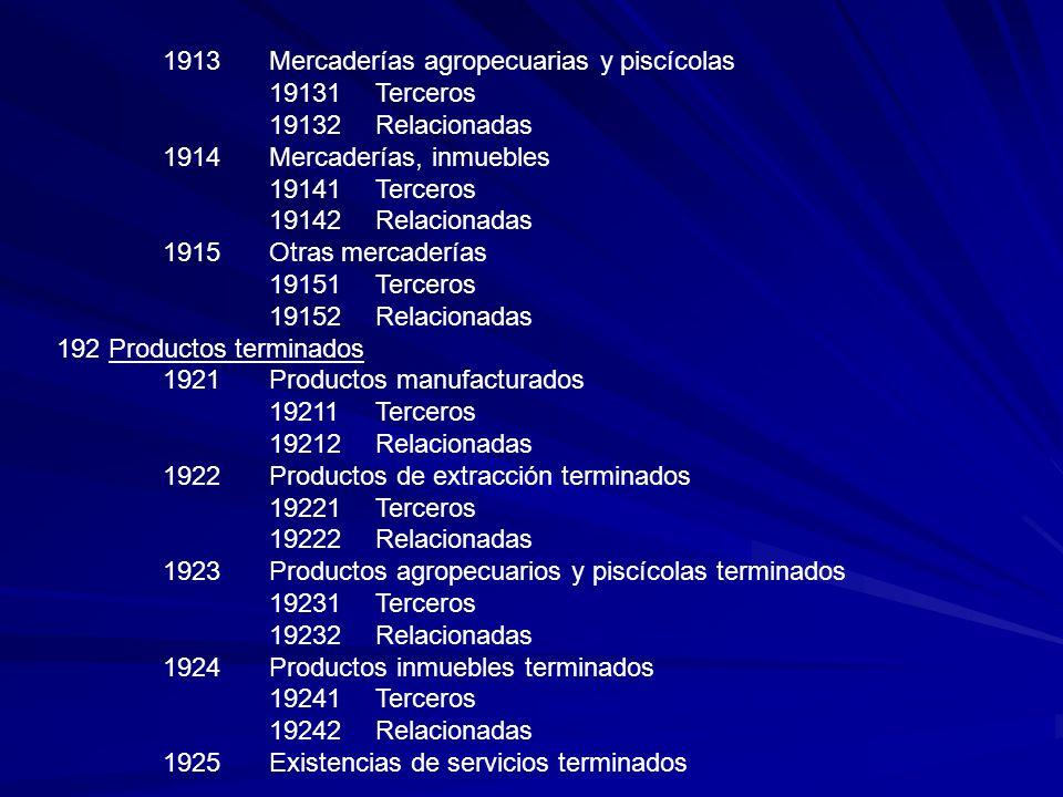 1913Mercaderías agropecuarias y piscícolas 19131Terceros 19132Relacionadas 1914Mercaderías, inmuebles 19141Terceros 19142Relacionadas 1915Otras mercad