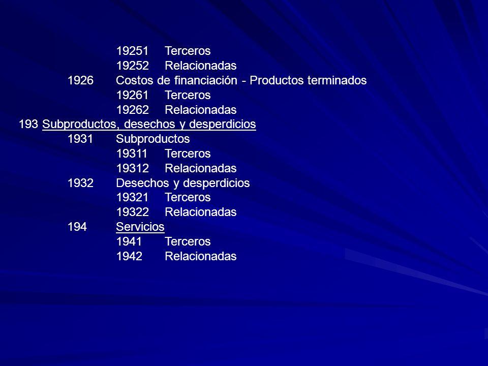 19251Terceros 19252Relacionadas 1926Costos de financiación - Productos terminados 19261Terceros 19262Relacionadas 193 Subproductos, desechos y desperd
