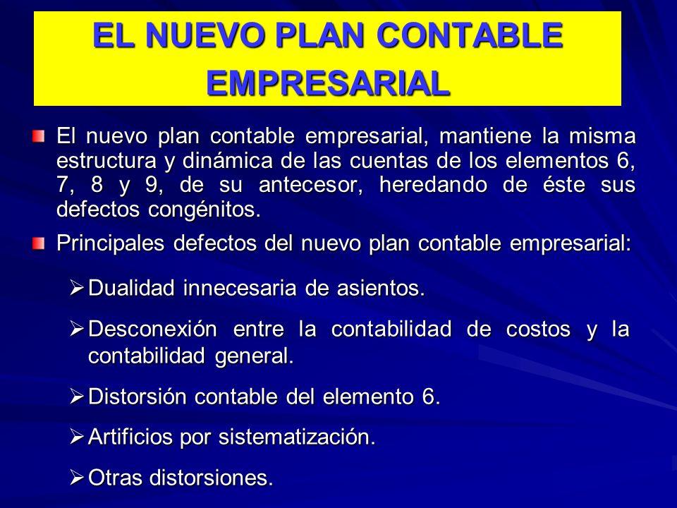 EL NUEVO PLAN CONTABLE EMPRESARIAL El nuevo plan contable empresarial, mantiene la misma estructura y dinámica de las cuentas de los elementos 6, 7, 8