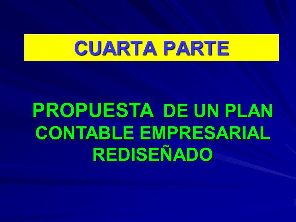 CUARTA PARTE PROPUESTA DE UN PLAN CONTABLE EMPRESARIAL REDISEÑADO