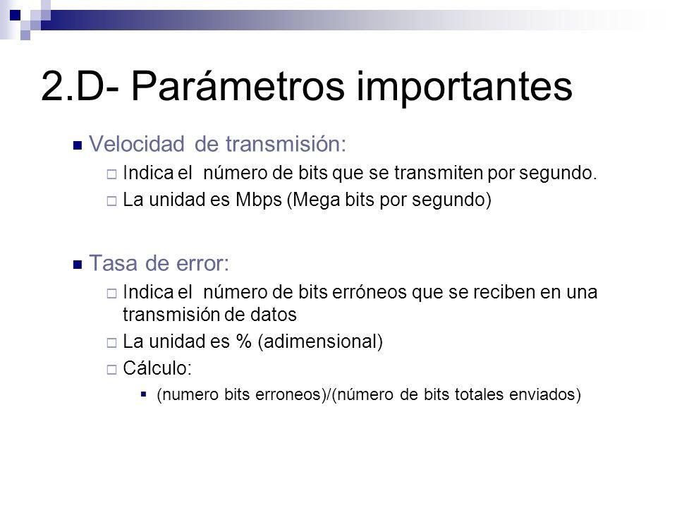 2.D- Parámetros importantes Velocidad de transmisión: Indica el número de bits que se transmiten por segundo. La unidad es Mbps (Mega bits por segundo