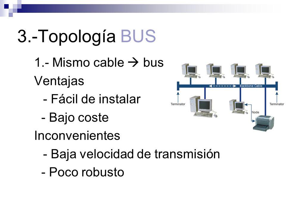 3.-Topología BUS 1.- Mismo cable bus Ventajas - Fácil de instalar - Bajo coste Inconvenientes - Baja velocidad de transmisión - Poco robusto