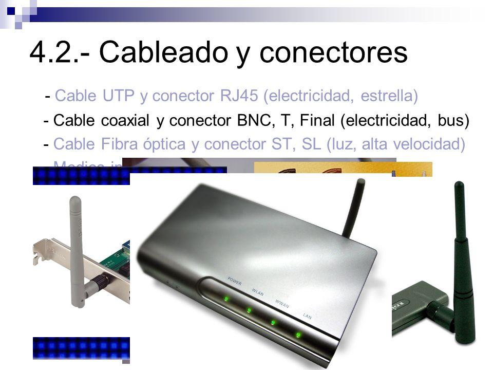 4.2.- Cableado y conectores - Cable UTP y conector RJ45 (electricidad, estrella) - Cable coaxial y conector BNC, T, Final (electricidad, bus) - Cable