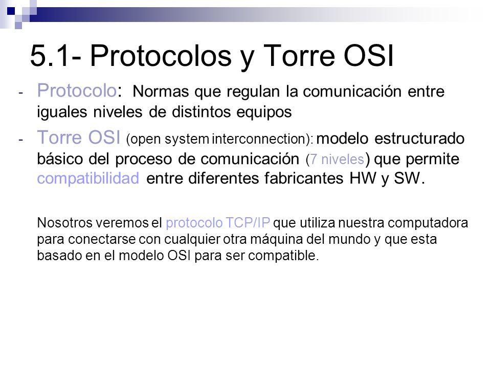 5.1- Protocolos y Torre OSI - Protocolo: Normas que regulan la comunicación entre iguales niveles de distintos equipos - Torre OSI (open system interc