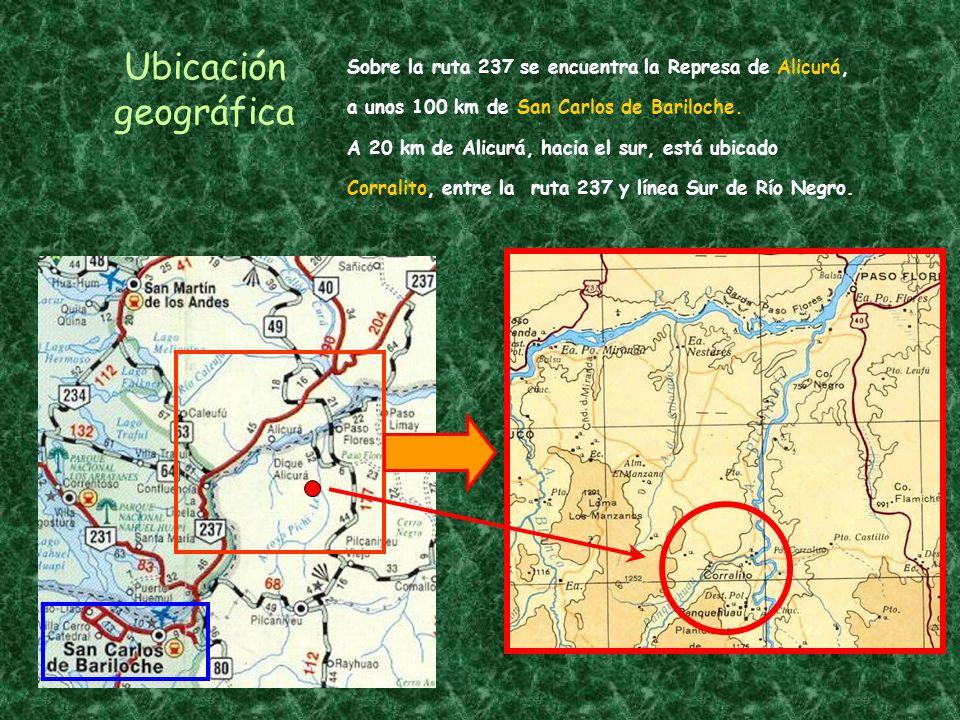 Ubicación geográfica Sobre la ruta 237 se encuentra la Represa de Alicurá, a unos 100 km de San Carlos de Bariloche.