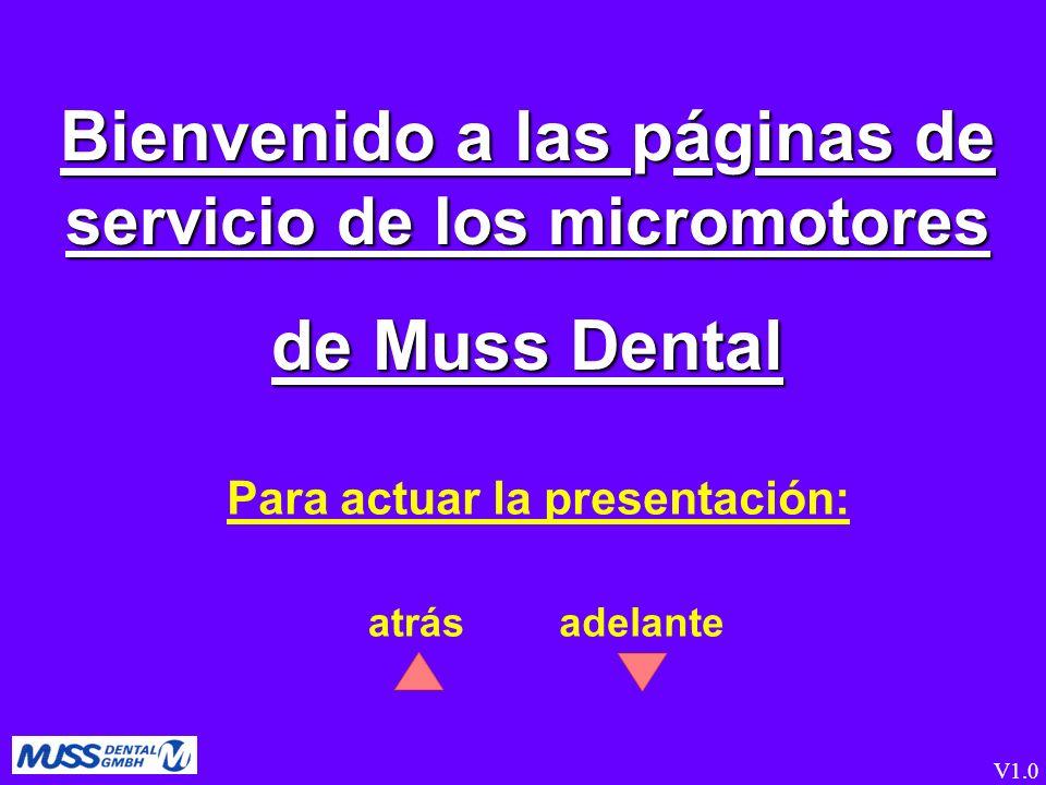 Bienvenido a las páginas de servicio de los micromotores de Muss Dental atrás Para actuar la presentación: V1.0 adelante
