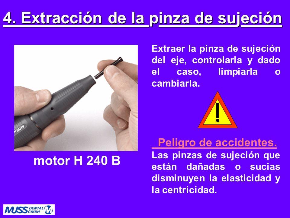 Extraer la pinza de sujeción del eje, controlarla y dado el caso, limpiarla o cambiarla. Peligro de accidentes. Las pinzas de sujeción que están dañad