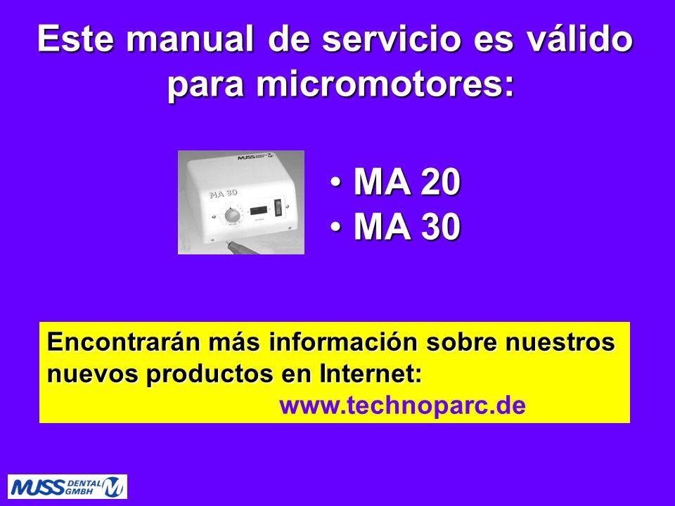 Este manual de servicio es válido para micromotores: Encontrarán más información sobre nuestros nuevos productos en Internet: www.technoparc.de MA 20