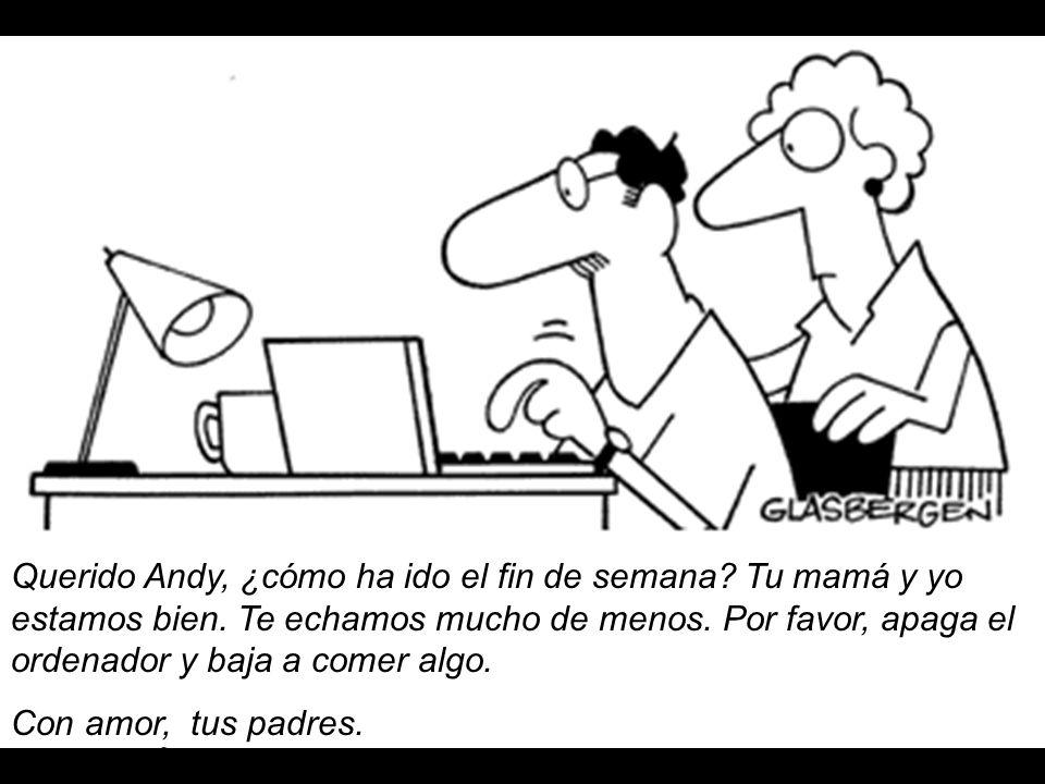 Querido Andy, ¿cómo ha ido el fin de semana? Tu mamá y yo estamos bien. Te echamos mucho de menos. Por favor, apaga el ordenador y baja a comer algo.