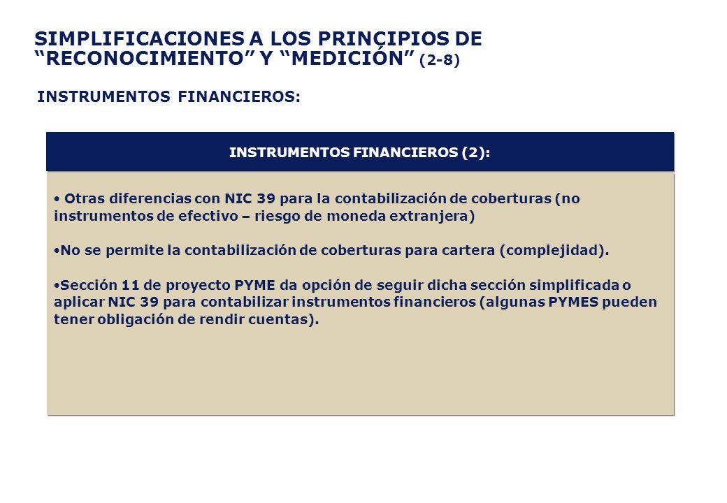 SIMPLIFICACIONES A LOS PRINCIPIOS DE RECONOCIMIENTO Y MEDICIÓN (2-8) Otras diferencias con NIC 39 para la contabilización de coberturas (no instrument