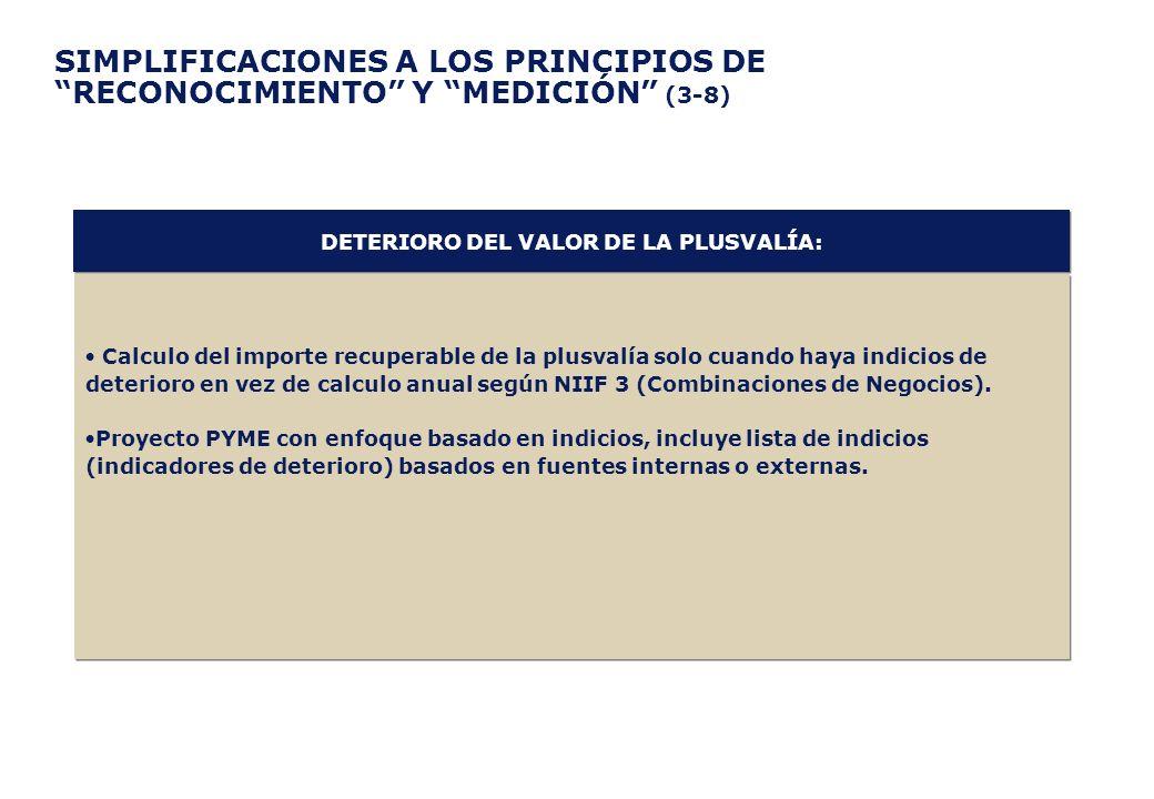 SIMPLIFICACIONES A LOS PRINCIPIOS DE RECONOCIMIENTO Y MEDICIÓN (3-8) Calculo del importe recuperable de la plusvalía solo cuando haya indicios de dete