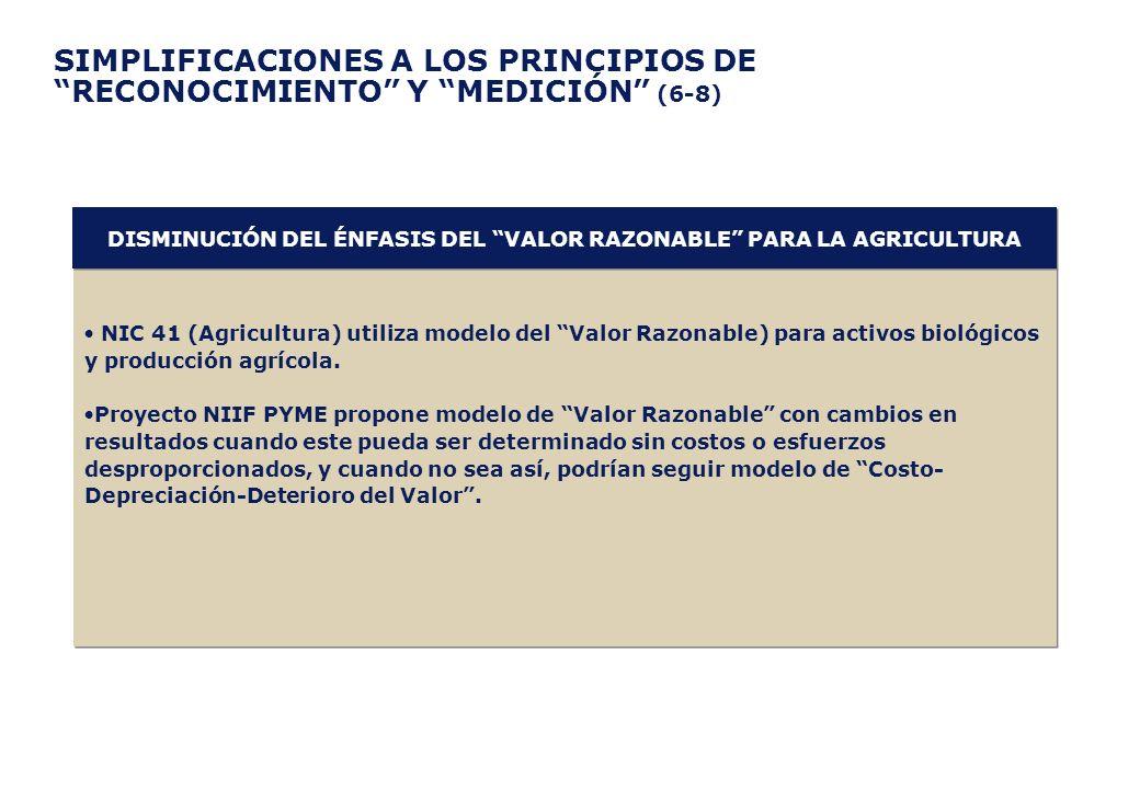 SIMPLIFICACIONES A LOS PRINCIPIOS DE RECONOCIMIENTO Y MEDICIÓN (6-8) NIC 41 (Agricultura) utiliza modelo del Valor Razonable) para activos biológicos