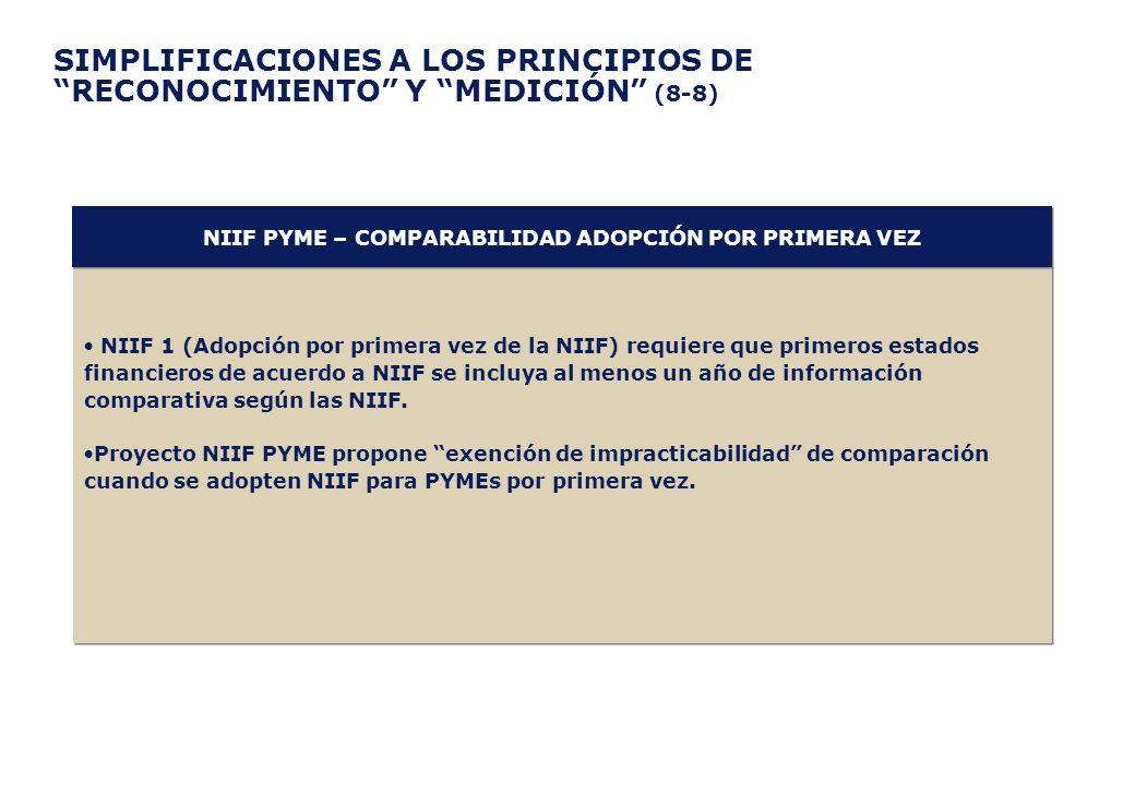 SIMPLIFICACIONES A LOS PRINCIPIOS DE RECONOCIMIENTO Y MEDICIÓN (8-8) NIIF 1 (Adopción por primera vez de la NIIF) requiere que primeros estados financ