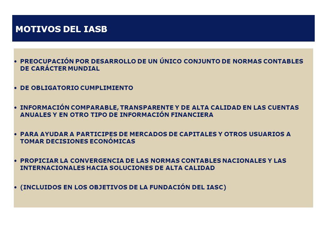 MOTIVOS DEL IASB PREOCUPACIÓN POR DESARROLLO DE UN ÚNICO CONJUNTO DE NORMAS CONTABLES DE CARÁCTER MUNDIAL DE OBLIGATORIO CUMPLIMIENTO INFORMACIÓN COMP