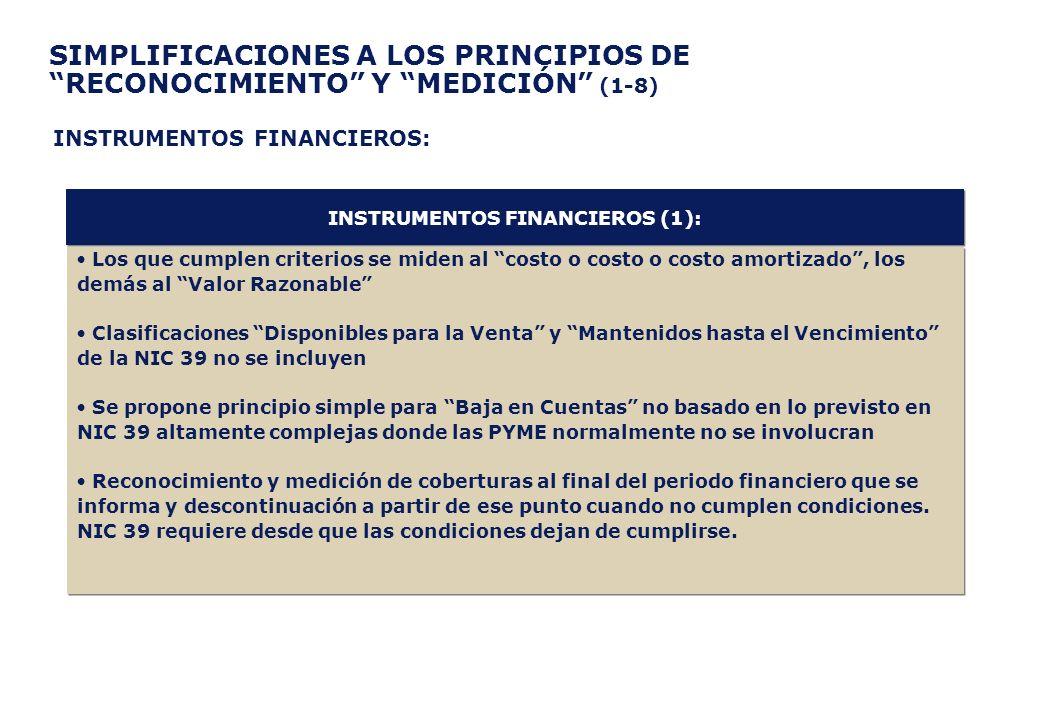 SIMPLIFICACIONES A LOS PRINCIPIOS DE RECONOCIMIENTO Y MEDICIÓN (2-8) Otras diferencias con NIC 39 para la contabilización de coberturas (no instrumentos de efectivo – riesgo de moneda extranjera) No se permite la contabilización de coberturas para cartera (complejidad).