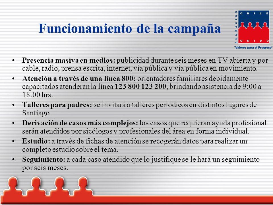 Funcionamiento de la campaña Presencia masiva en medios: publicidad durante seis meses en TV abierta y por cable, radio, prensa escrita, internet, vía pública y vía pública en movimiento.