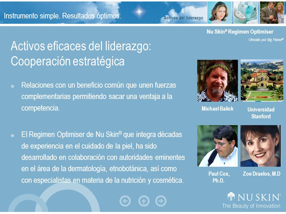 Instrumento simple. Resultados óptimos. Nu Skin ® Regimen Optimiser Ofrecido por Big Planet ® Michael Chang, Ph.D. Activos eficaces del liderazgo: Coo