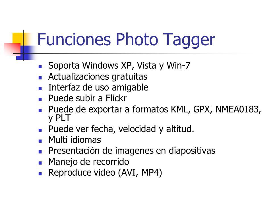 Soporta Windows XP, Vista y Win-7 Actualizaciones gratuitas Interfaz de uso amigable Puede subir a Flickr Puede de exportar a formatos KML, GPX, NMEA0