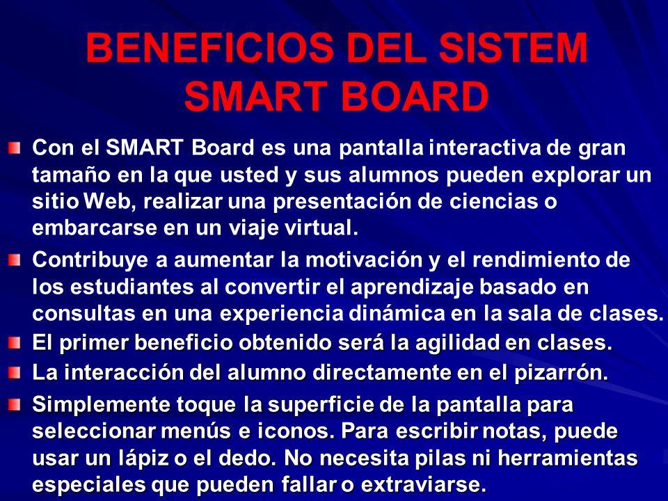 Con el SMART Board es una pantalla interactiva de gran tamaño en la que usted y sus alumnos pueden explorar un sitio Web, realizar una presentación de