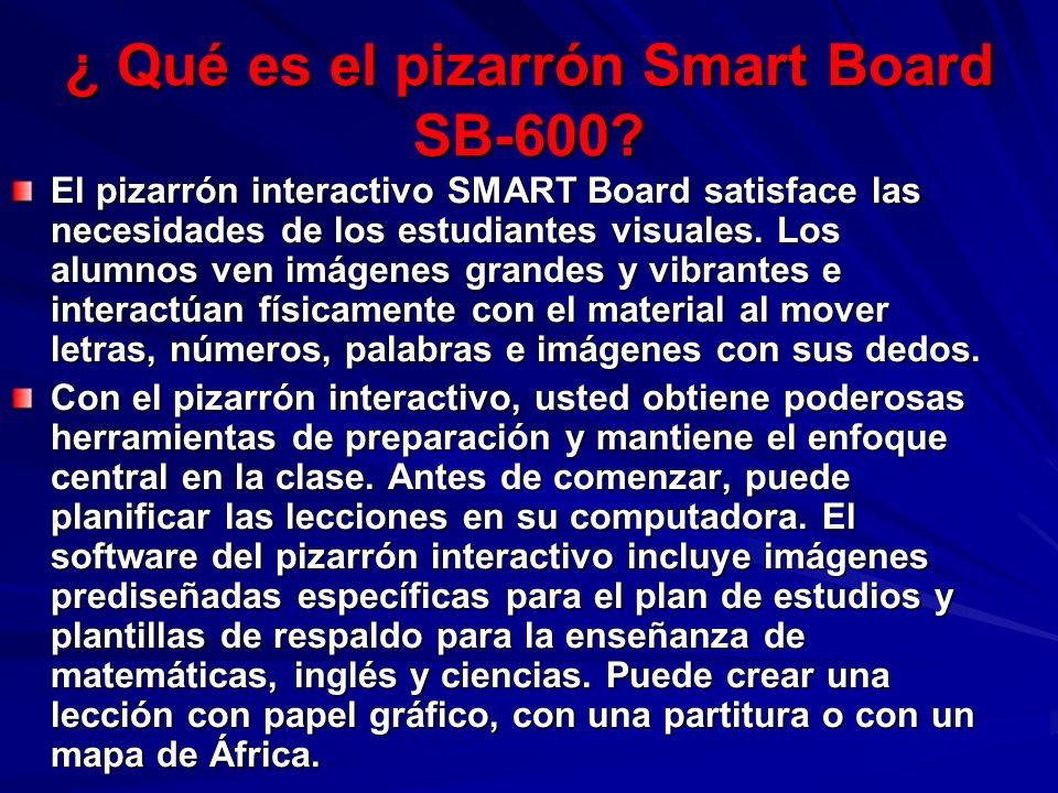 ¿ Qué es el pizarrón Smart Board SB-600? El pizarrón interactivo SMART Board satisface las necesidades de los estudiantes visuales. Los alumnos ven im