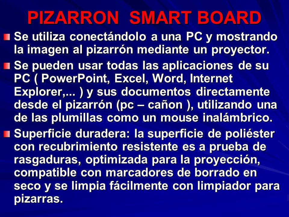 PIZARRON SMART BOARD Se utiliza conectándolo a una PC y mostrando la imagen al pizarrón mediante un proyector. Se pueden usar todas las aplicaciones d
