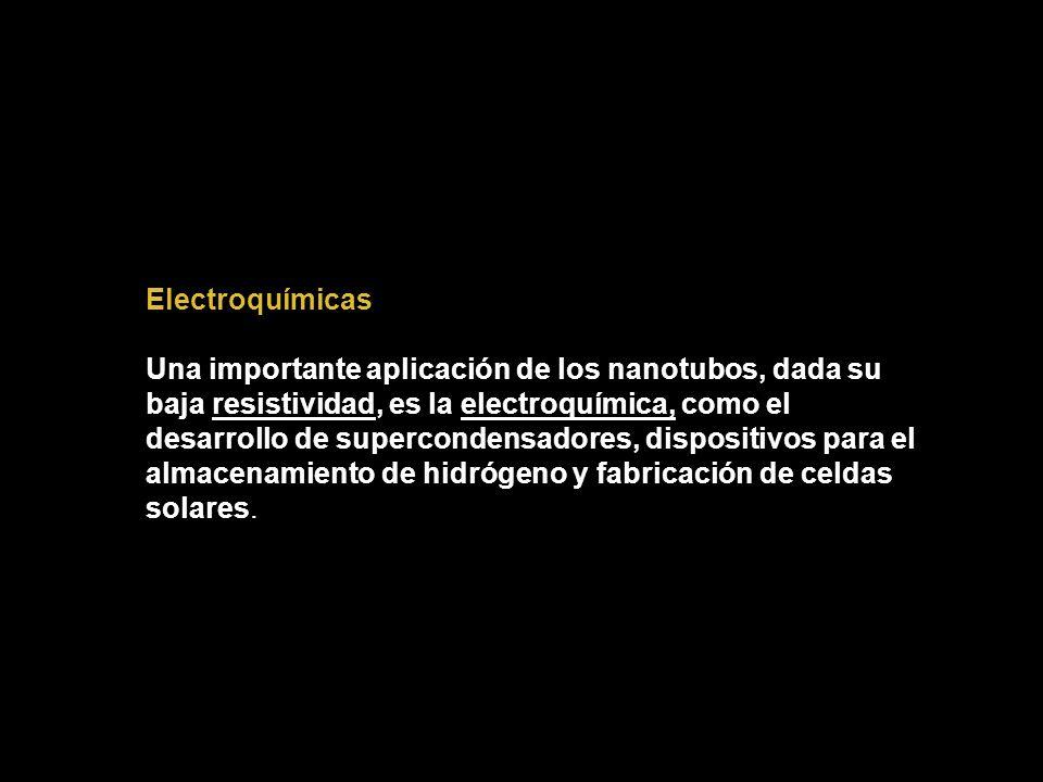 Electroquímicas Una importante aplicación de los nanotubos, dada su baja resistividad, es la electroquímica, como el desarrollo de supercondensadores,
