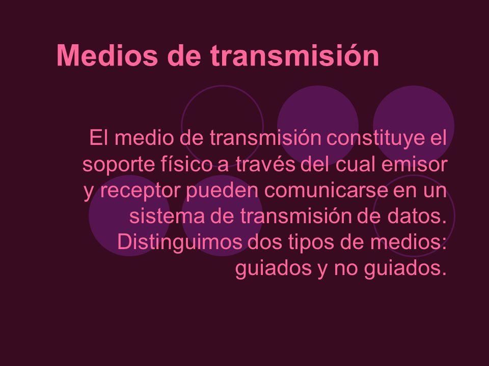 Medios de transmisión El medio de transmisión constituye el soporte físico a través del cual emisor y receptor pueden comunicarse en un sistema de tra