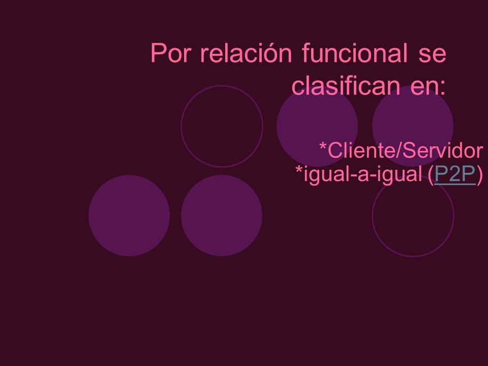 Por relación funcional se clasifican en: *Cliente/Servidor *igual-a-igual (P2P)P2P