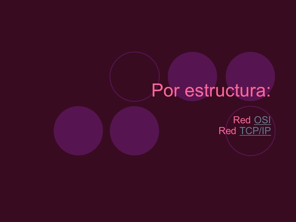 Por estructura: Red OSI Red TCP/IPOSITCP/IP