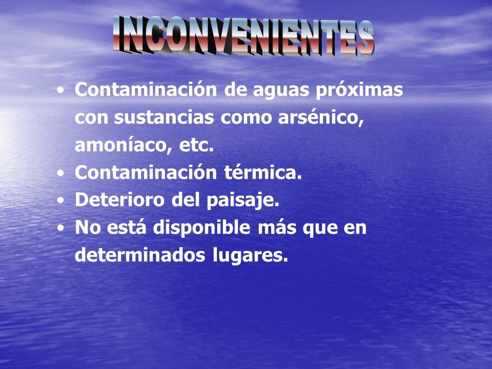 Contaminación de aguas próximas con sustancias como arsénico, amoníaco, etc. Contaminación térmica. Deterioro del paisaje. No está disponible más que